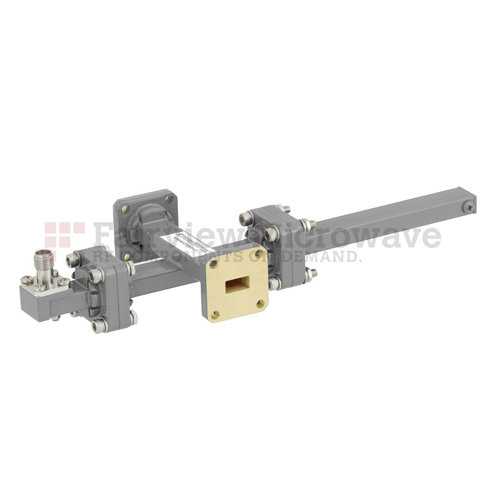50 dB WR-34 Waveguide Crossguide Coupler with UG-1530/U Square Cover Flange and 2.92mm Female Coupled Port from 22 GHz to 33 GHz in Bronze