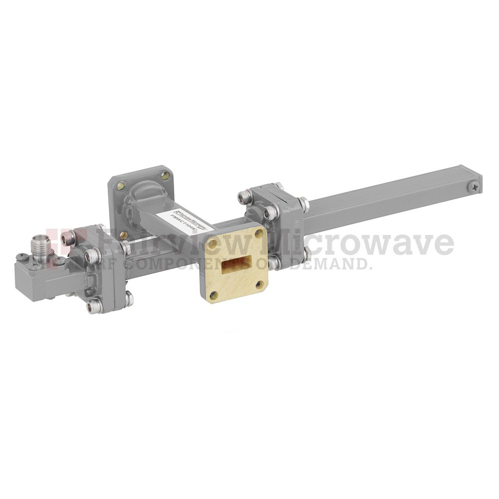 30 dB WR-42 Waveguide Crossguide Coupler with UG-595/U Square Cover Flange and SMA Female Coupled Port from 18 GHz to 26.5 GHz in Bronze