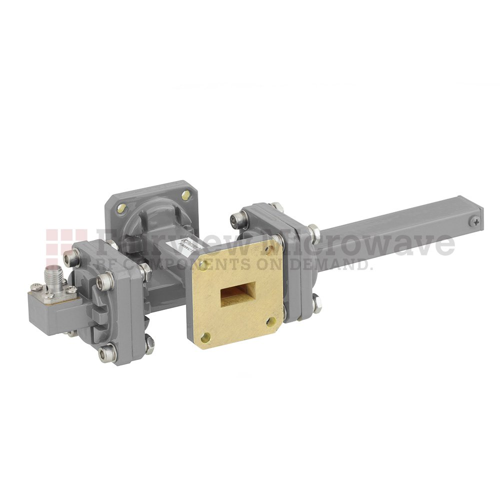 30 dB WR-51 Waveguide Crossguide Coupler with Square Cover Flange and SMA Female Coupled Port from 15 GHz to 22 GHz in Bronze