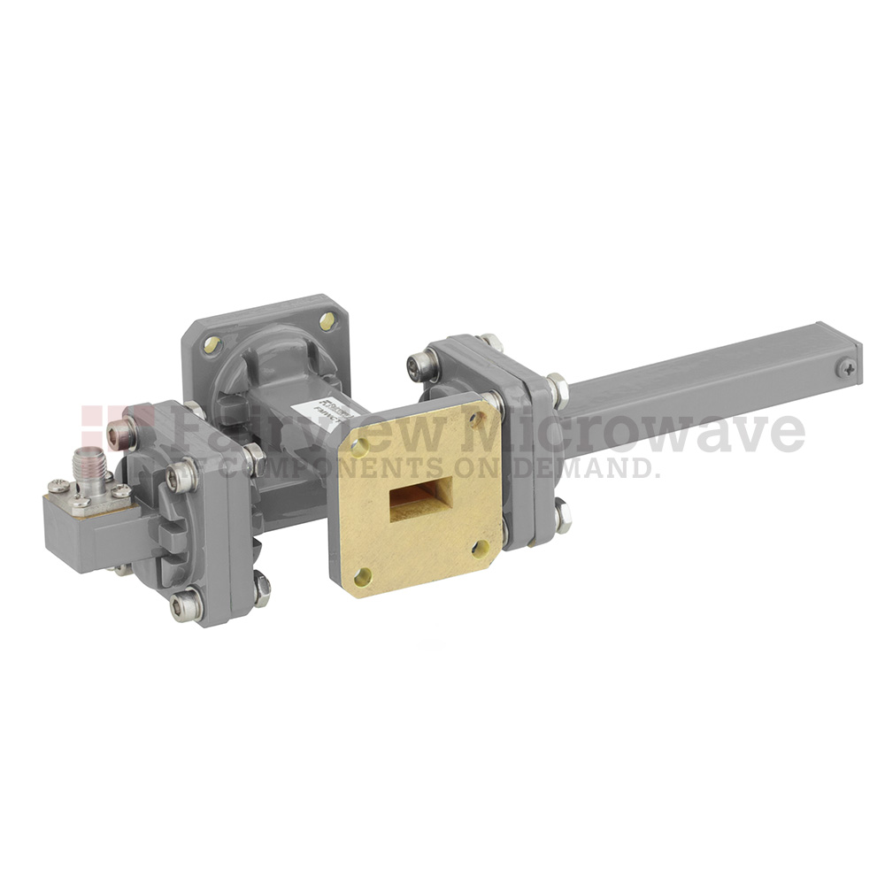 40 dB WR-51 Waveguide Crossguide Coupler with Square Cover Flange and SMA Female Coupled Port from 15 GHz to 22 GHz in Bronze