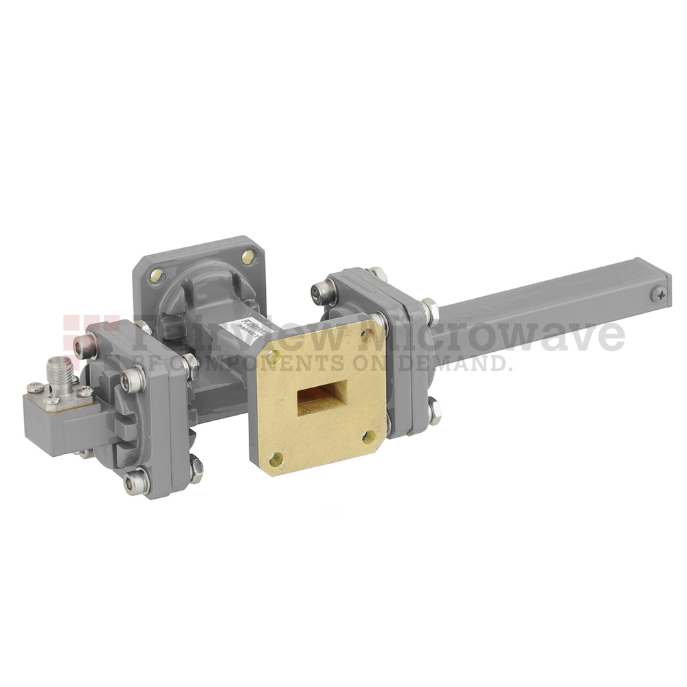 50 dB WR-51 Waveguide Crossguide Coupler with Square Cover Flange and SMA Female Coupled Port from 15 GHz to 22 GHz in Bronze
