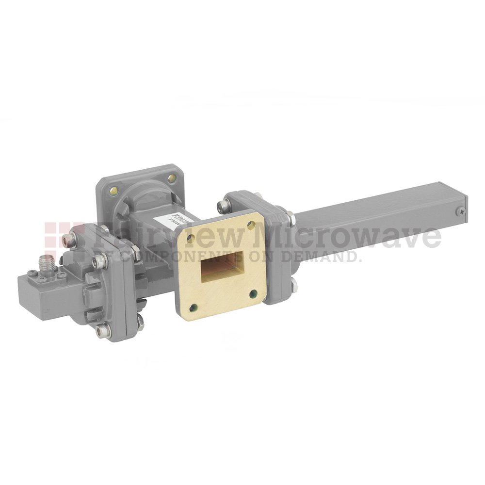 20 dB WR-75 Waveguide Crossguide Coupler with Square Cover Flange and SMA Female Coupled Port from 10 GHz to 15 GHz in Bronze