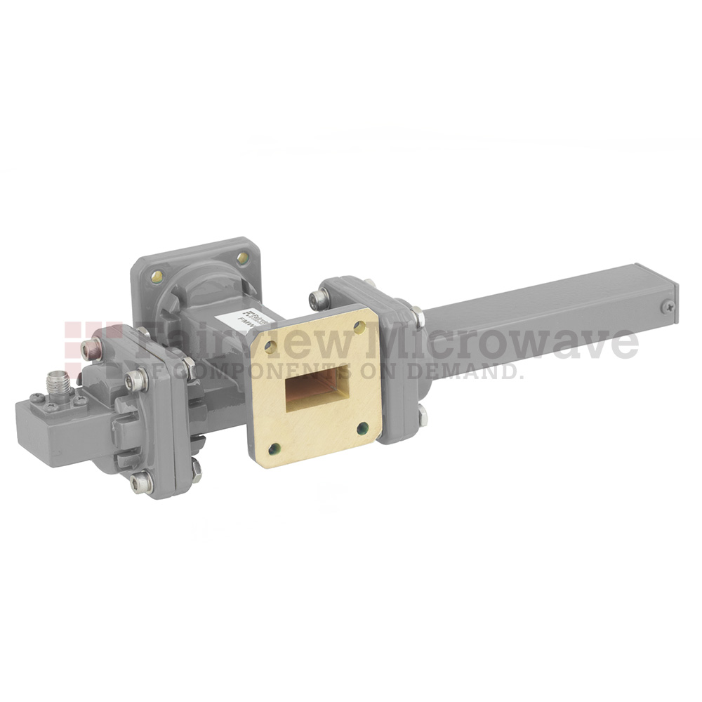 30 dB WR-75 Waveguide Crossguide Coupler with Square Cover Flange and SMA Female Coupled Port from 10 GHz to 15 GHz in Bronze
