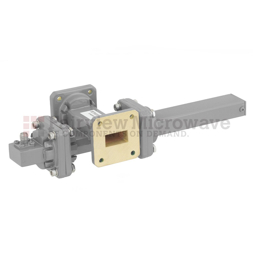40 dB WR-75 Waveguide Crossguide Coupler with Square Cover Flange and SMA Female Coupled Port from 10 GHz to 15 GHz in Bronze