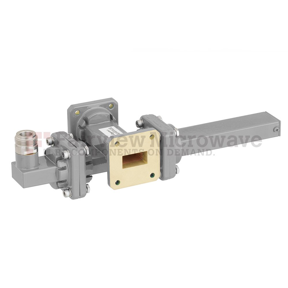 20 dB WR-75 Waveguide Crossguide Coupler with Square Cover Flange and N Female Coupled Port from 10 GHz to 15 GHz in Bronze