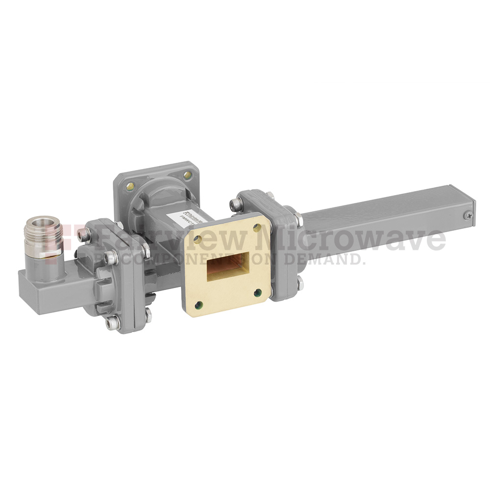 30 dB WR-75 Waveguide Crossguide Coupler with Square Cover Flange and N Female Coupled Port from 10 GHz to 15 GHz in Bronze