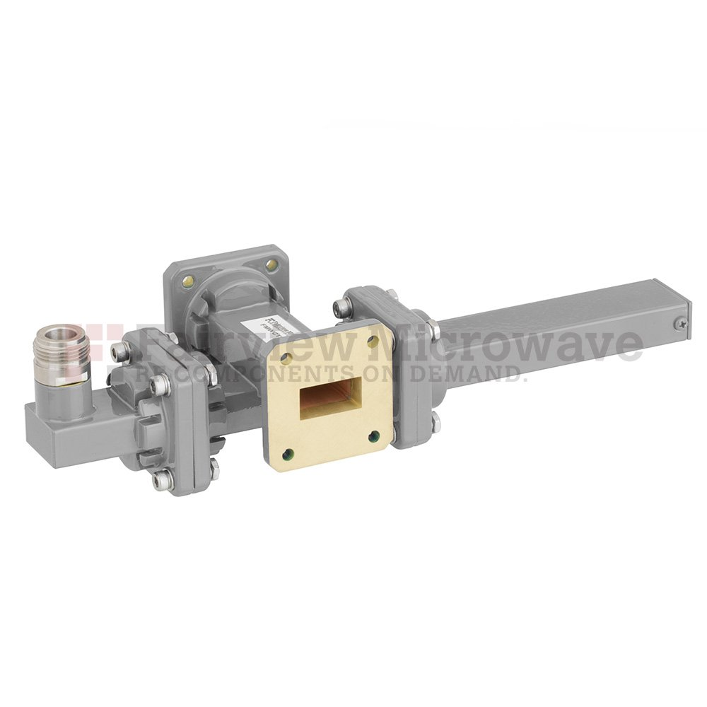 40 dB WR-75 Waveguide Crossguide Coupler with Square Cover Flange and N Female Coupled Port from 10 GHz to 15 GHz in Bronze