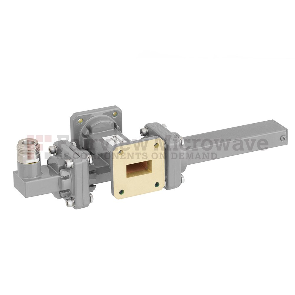 50 dB WR-75 Waveguide Crossguide Coupler with Square Cover Flange and N Female Coupled Port from 10 GHz to 15 GHz in Bronze
