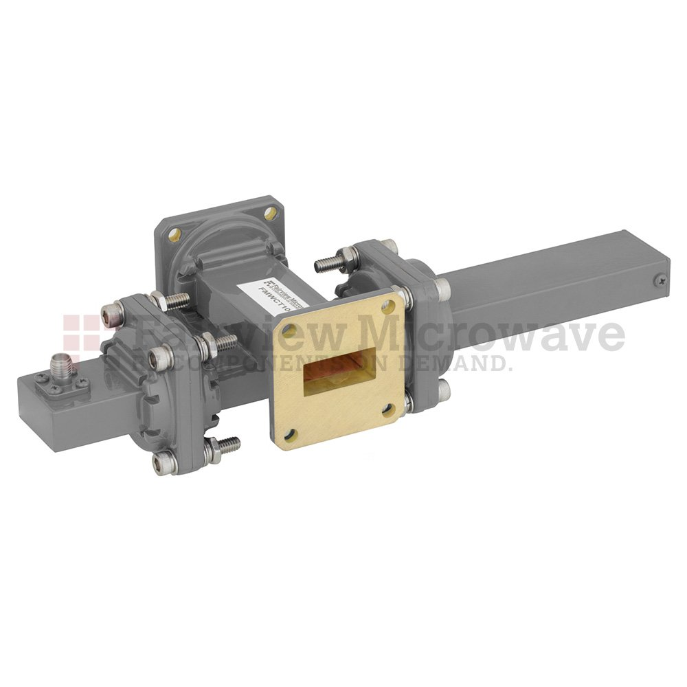 20 dB WR-90 Waveguide Crossguide Coupler with UG-39/U Square Cover Flange and SMA Female Coupled Port from 8.2 GHz to 12.4 GHz in Bronze