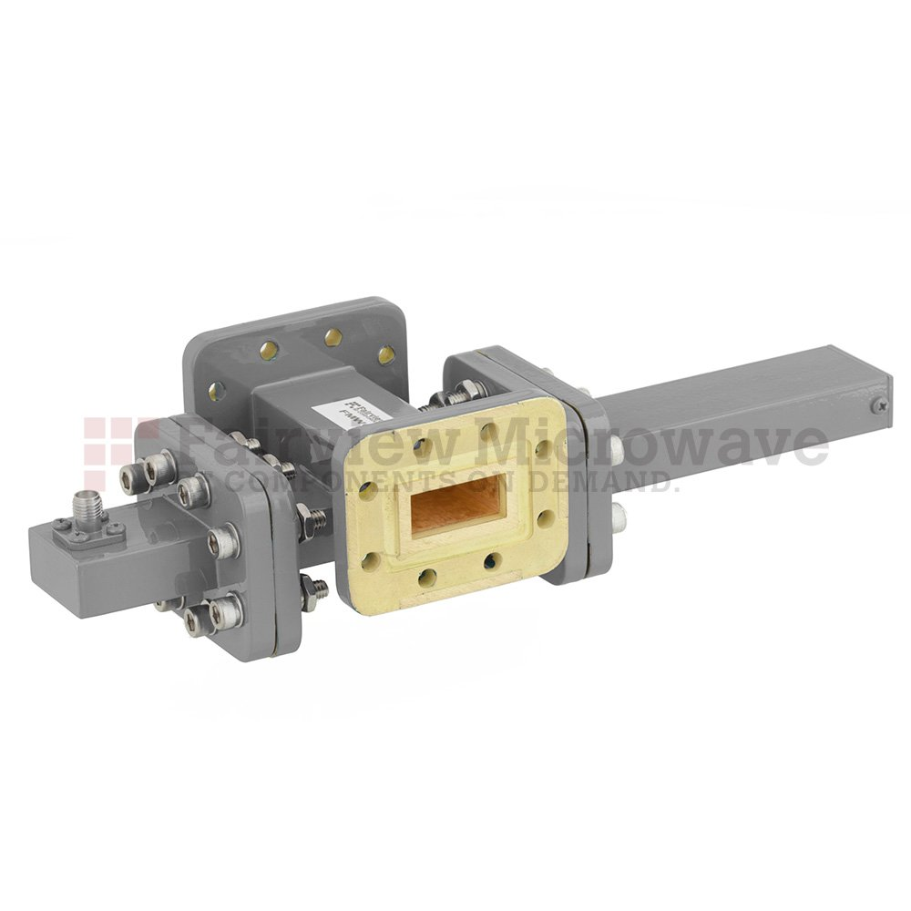 20 dB WR-90 Waveguide Crossguide Coupler with CPR-90G Flange and SMA Female Coupled Port from 8.2 GHz to 12.4 GHz in Bronze