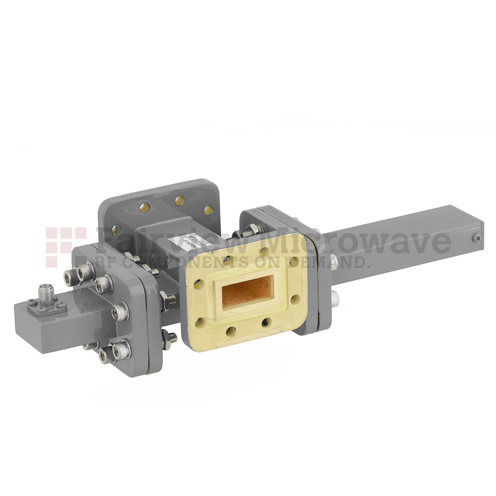 30 dB WR-90 Waveguide Crossguide Coupler with CPR-90G Flange and SMA Female Coupled Port from 8.2 GHz to 12.4 GHz in Bronze