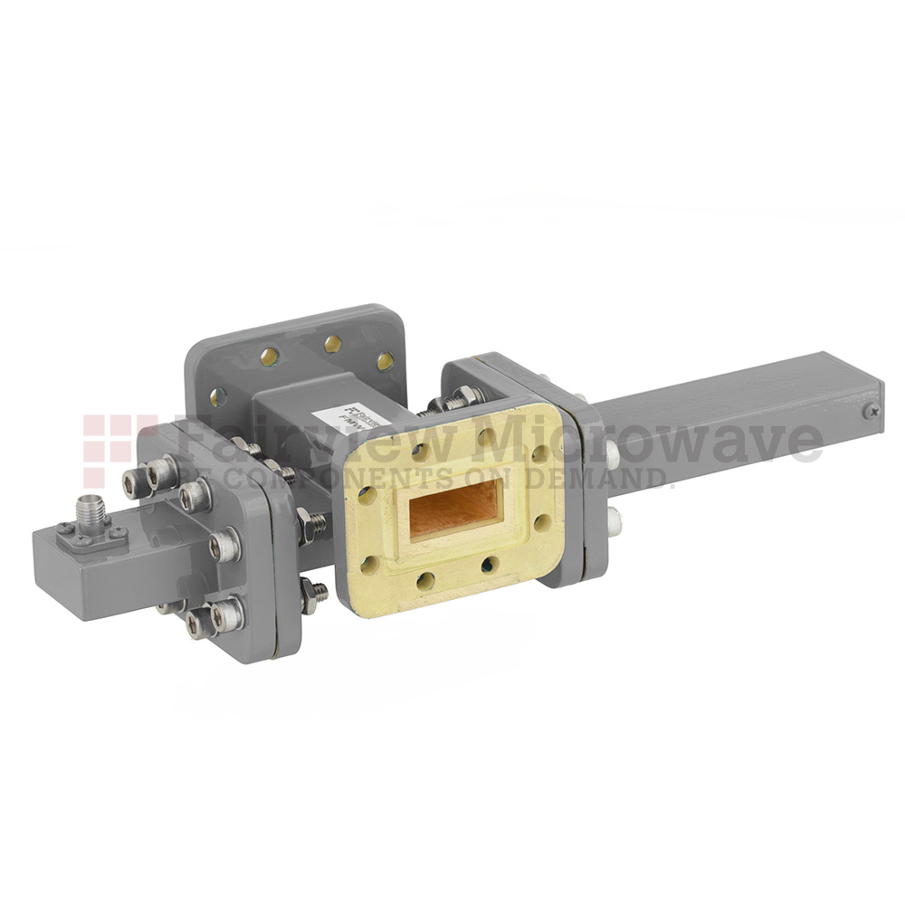 40 dB WR-90 Waveguide Crossguide Coupler with CPR-90G Flange and SMA Female Coupled Port from 8.2 GHz to 12.4 GHz in Bronze