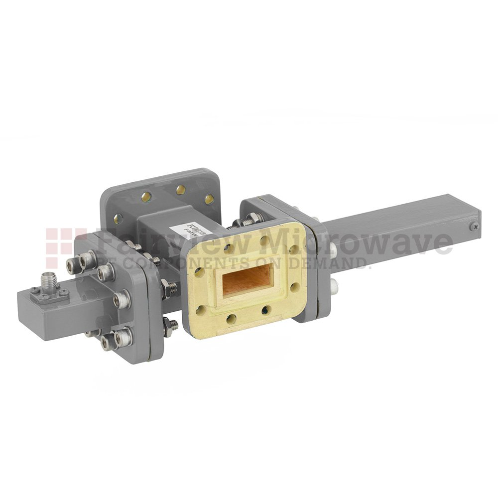 50 dB WR-90 Waveguide Crossguide Coupler with CPR-90G Flange and SMA Female Coupled Port from 8.2 GHz to 12.4 GHz in Bronze