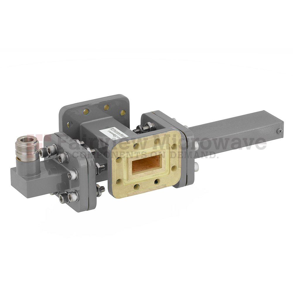 20 dB WR-90 Waveguide Crossguide Coupler with CPR-90G Flange and N Female Coupled Port from 8.2 GHz to 12.4 GHz in Bronze