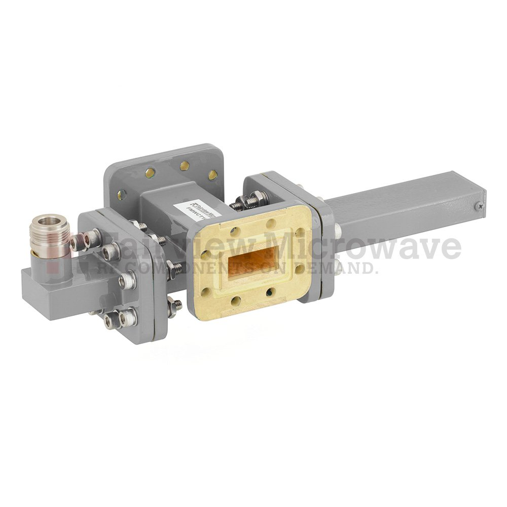 30 dB WR-90 Waveguide Crossguide Coupler with CPR-90G Flange and N Female Coupled Port from 8.2 GHz to 12.4 GHz in Bronze