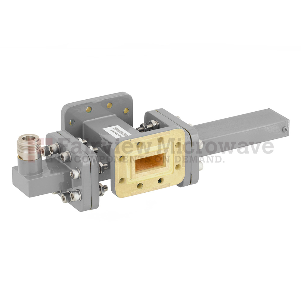 40 dB WR-90 Waveguide Crossguide Coupler with CPR-90G Flange and N Female Coupled Port from 8.2 GHz to 12.4 GHz in Bronze