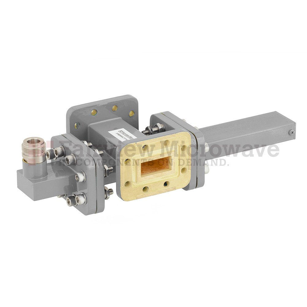 50 dB WR-90 Waveguide Crossguide Coupler with CPR-90G Flange and N Female Coupled Port from 8.2 GHz to 12.4 GHz in Bronze