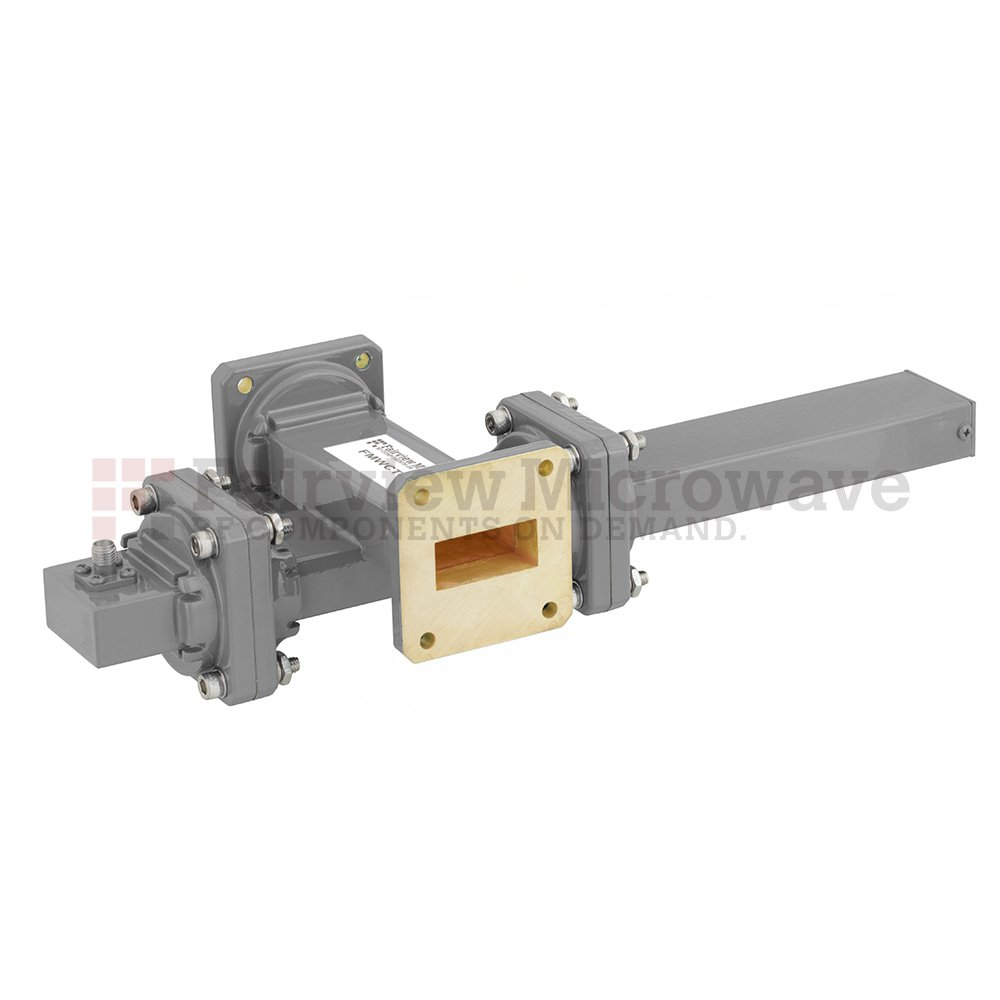 20 dB WR-112 Waveguide Crossguide Coupler with UG-51/U Square Cover Flange and SMA Female Coupled Port from 7.05 GHz to 10 GHz in Bronze