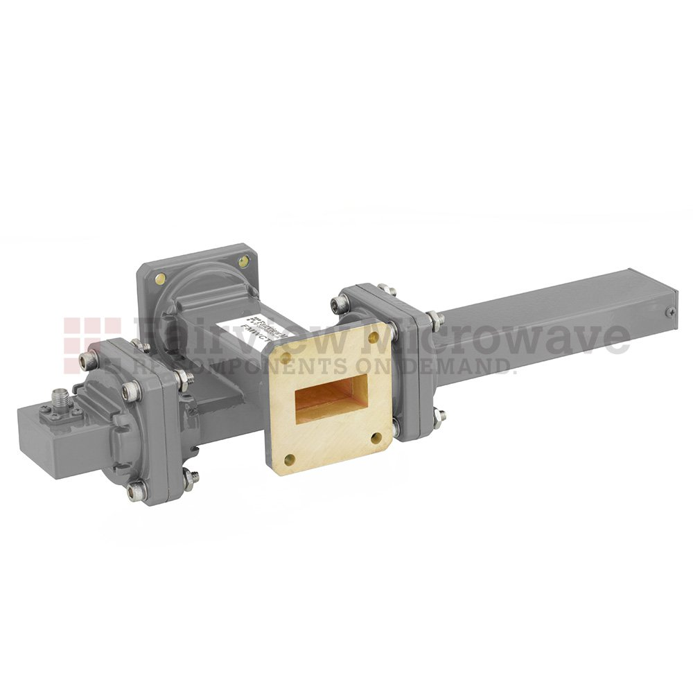 30 dB WR-112 Waveguide Crossguide Coupler with UG-51/U Square Cover Flange and SMA Female Coupled Port from 7.05 GHz to 10 GHz in Bronze