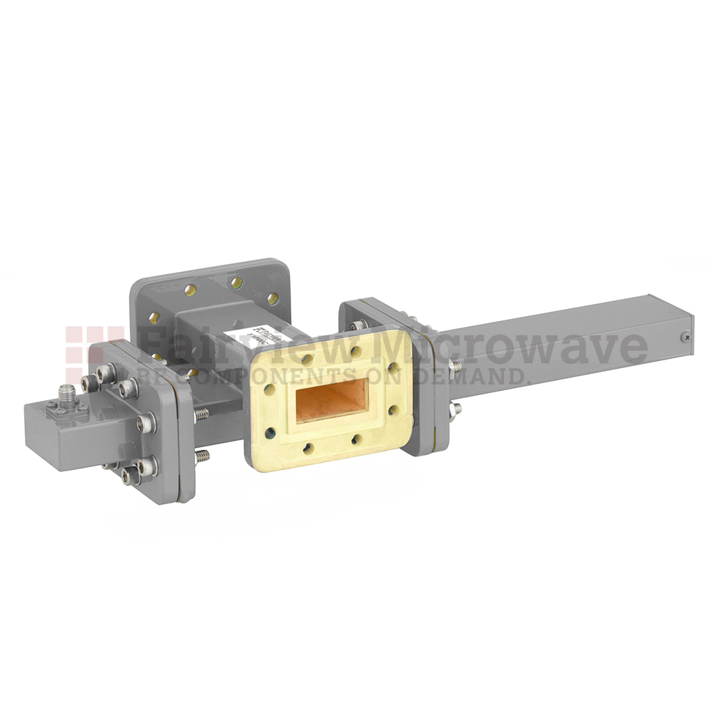 30 dB WR-112 Waveguide Crossguide Coupler with CPR-112G Flange and SMA Female Coupled Port from 7.05 GHz to 10 GHz in Bronze
