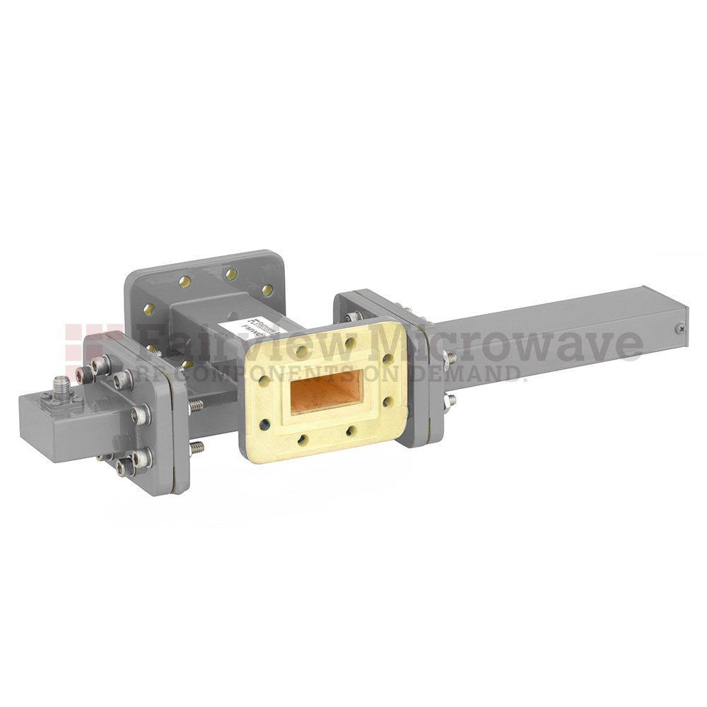 40 dB WR-112 Waveguide Crossguide Coupler with CPR-112G Flange and SMA Female Coupled Port from 7.05 GHz to 10 GHz in Bronze