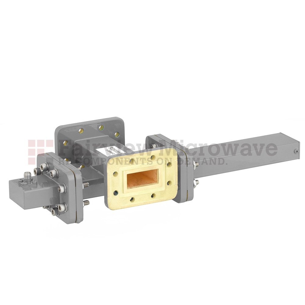 50 dB WR-112 Waveguide Crossguide Coupler with CPR-112G Flange and SMA Female Coupled Port from 7.05 GHz to 10 GHz in Bronze