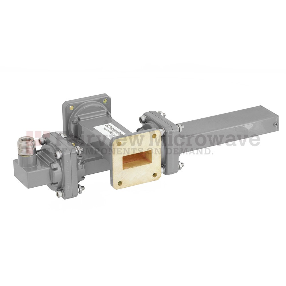 20 dB WR-112 Waveguide Crossguide Coupler with UG-51/U Square Cover Flange and N Female Coupled Port from 7.05 GHz to 10 GHz in Bronze