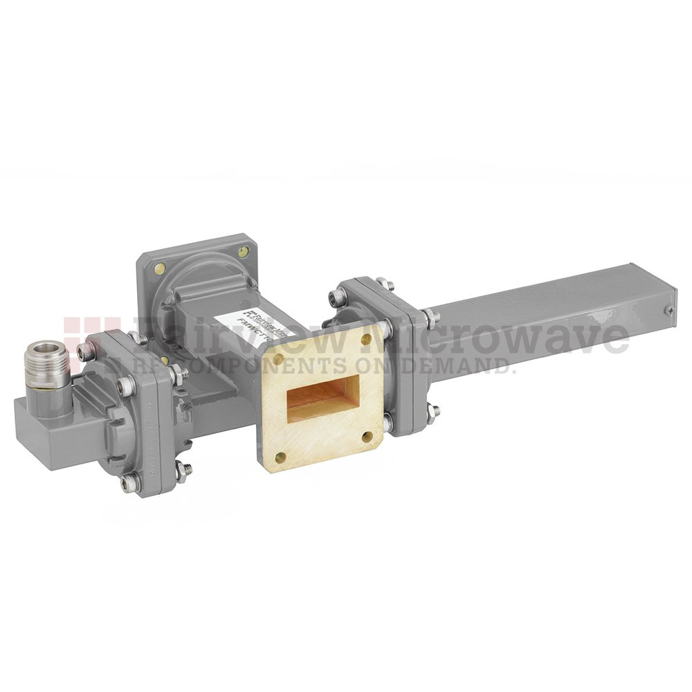 30 dB WR-112 Waveguide Crossguide Coupler with UG-51/U Square Cover Flange and N Female Coupled Port from 7.05 GHz to 10 GHz in Bronze