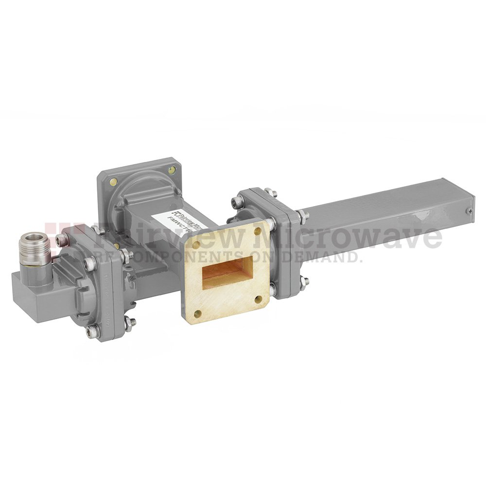 40 dB WR-112 Waveguide Crossguide Coupler with UG-51/U Square Cover Flange and N Female Coupled Port from 7.05 GHz to 10 GHz in Bronze
