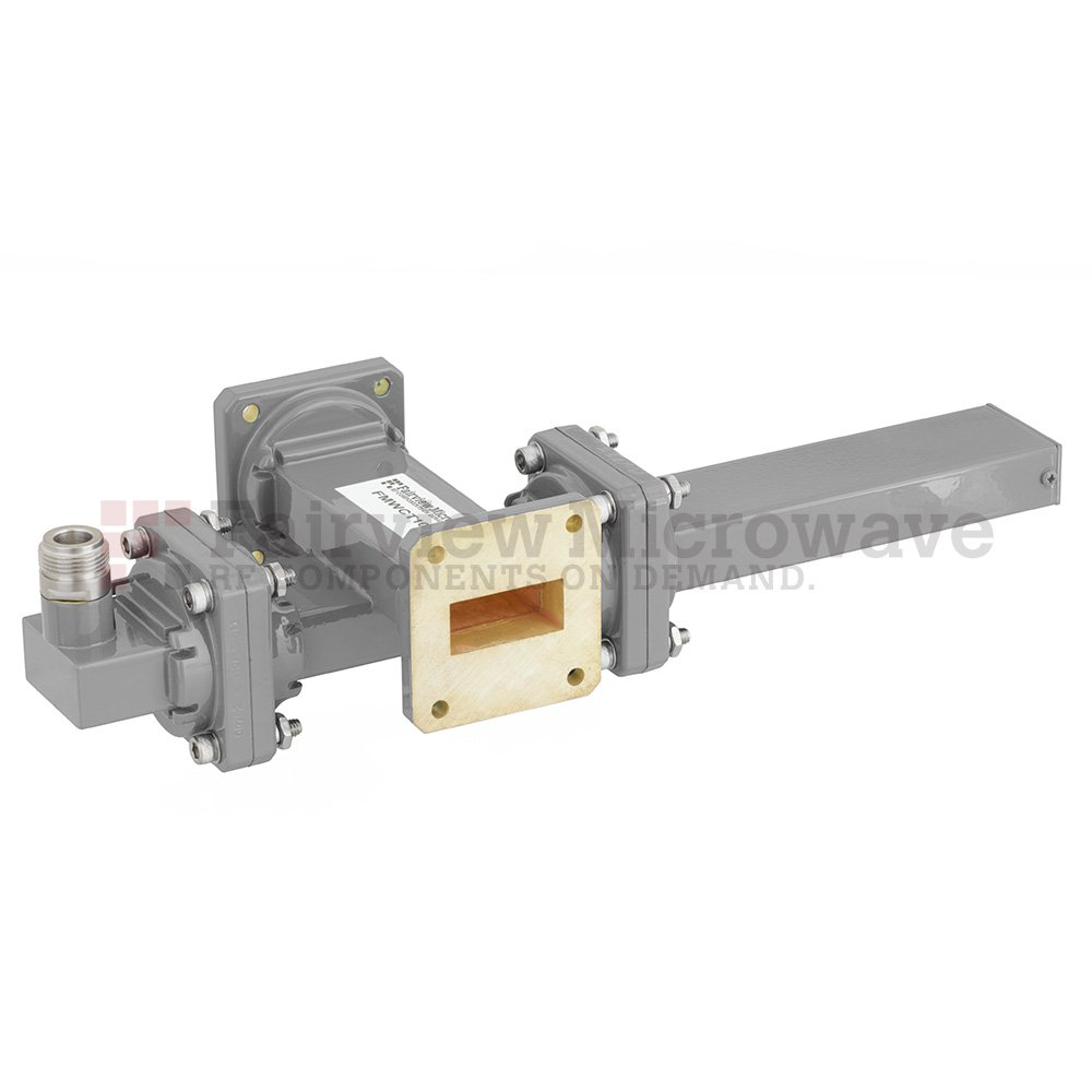 50 dB WR-112 Waveguide Crossguide Coupler with UG-51/U Square Cover Flange and N Female Coupled Port from 7.05 GHz to 10 GHz in Bronze