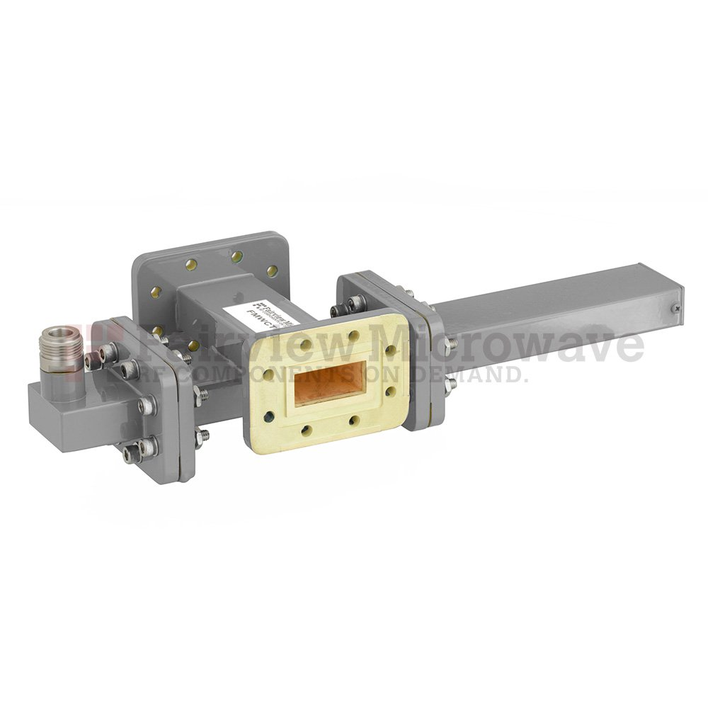 20 dB WR-112 Waveguide Crossguide Coupler with CPR-112G Flange and N Female Coupled Port from 7.05 GHz to 10 GHz in Bronze