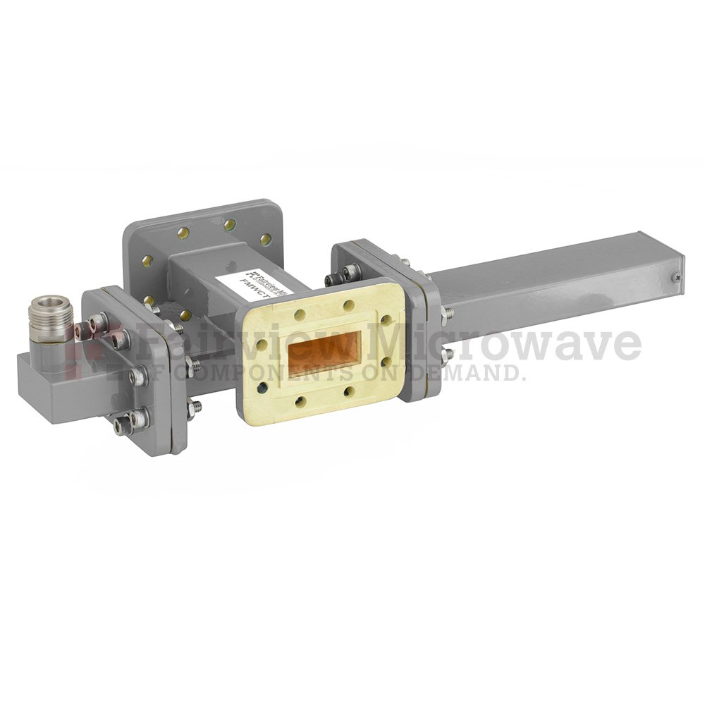 30 dB WR-112 Waveguide Crossguide Coupler with CPR-112G Flange and N Female Coupled Port from 7.05 GHz to 10 GHz in Bronze