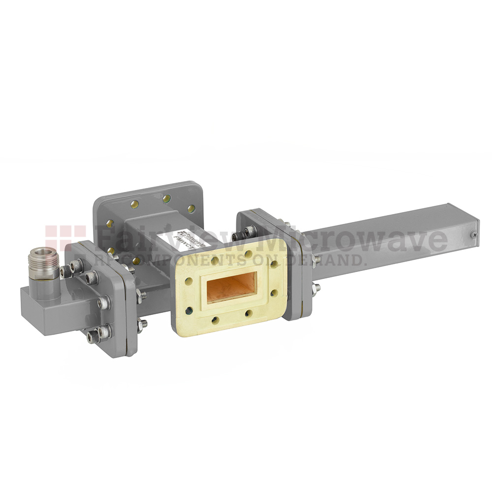 40 dB WR-112 Waveguide Crossguide Coupler with CPR-112G Flange and N Female Coupled Port from 7.05 GHz to 10 GHz in Bronze