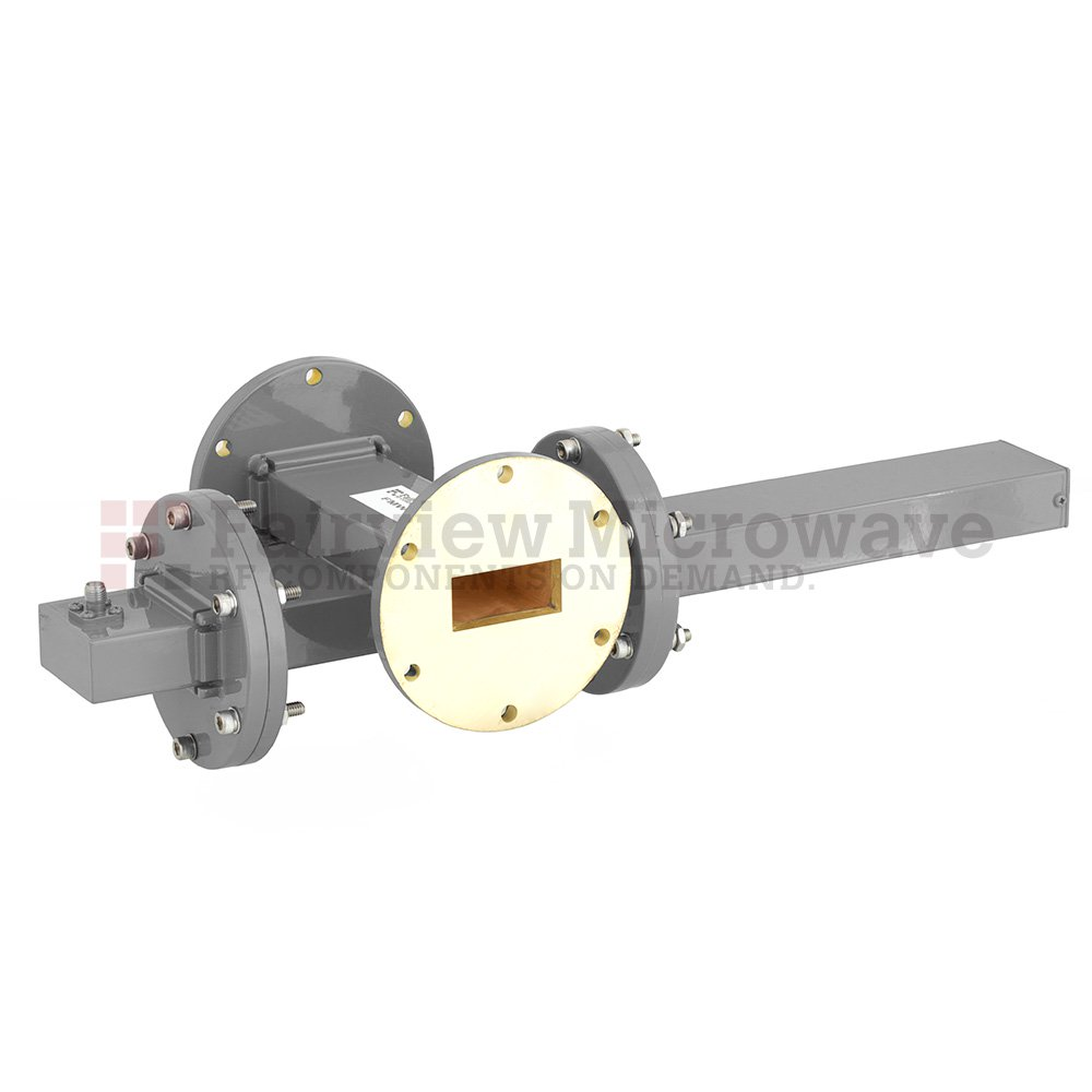 20 dB WR-137 Waveguide Crossguide Coupler with UG-344/U Round Cover Flange and SMA Female Coupled Port from 5.85 GHz to 8.2 GHz in Bronze