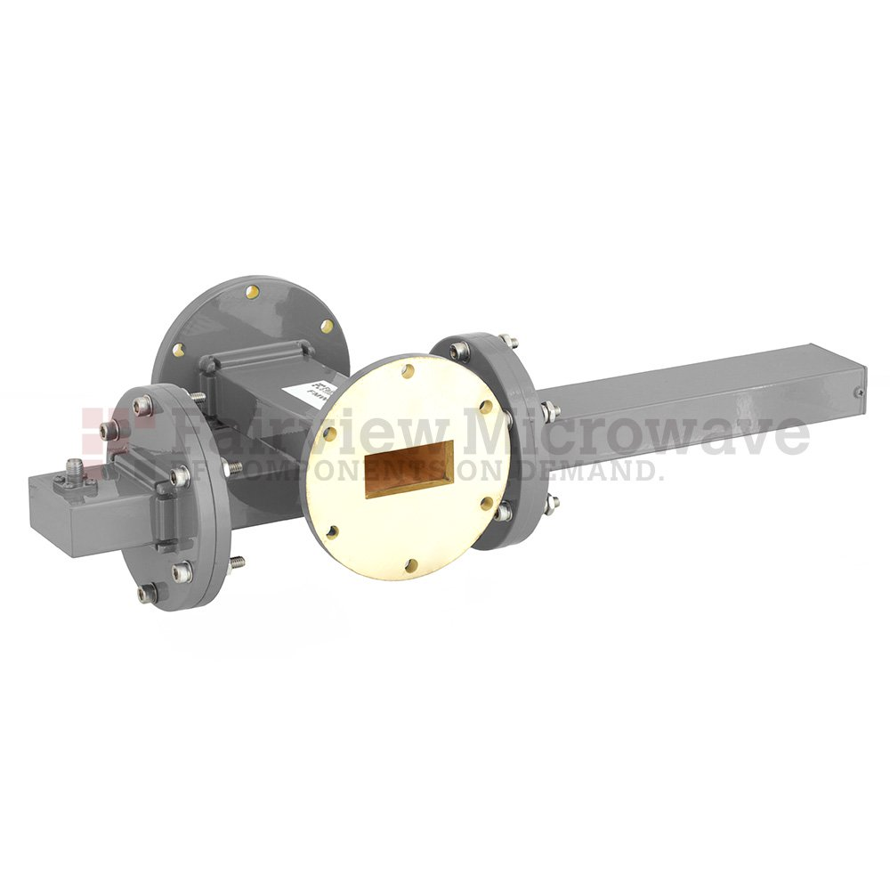 40 dB WR-137 Waveguide Crossguide Coupler with UG-344/U Round Cover Flange and SMA Female Coupled Port from 5.85 GHz to 8.2 GHz in Bronze