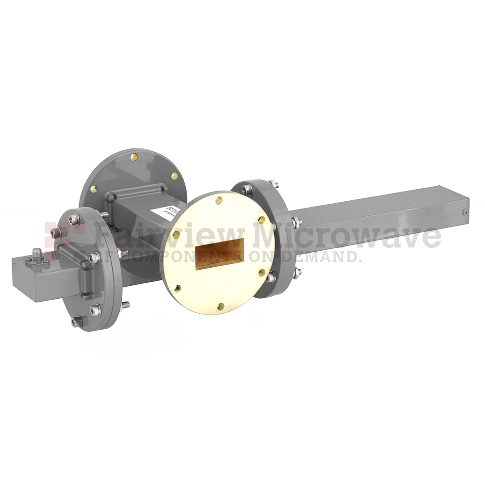 50 dB WR-137 Waveguide Crossguide Coupler with UG-344/U Round Cover Flange and SMA Female Coupled Port from 5.85 GHz to 8.2 GHz in Bronze