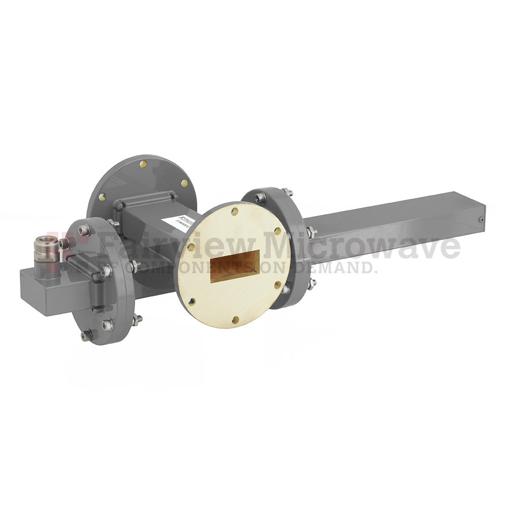 20 dB WR-137 Waveguide Crossguide Coupler with UG-344/U Round Cover Flange and N Female Coupled Port from 5.85 GHz to 8.2 GHz in Bronze