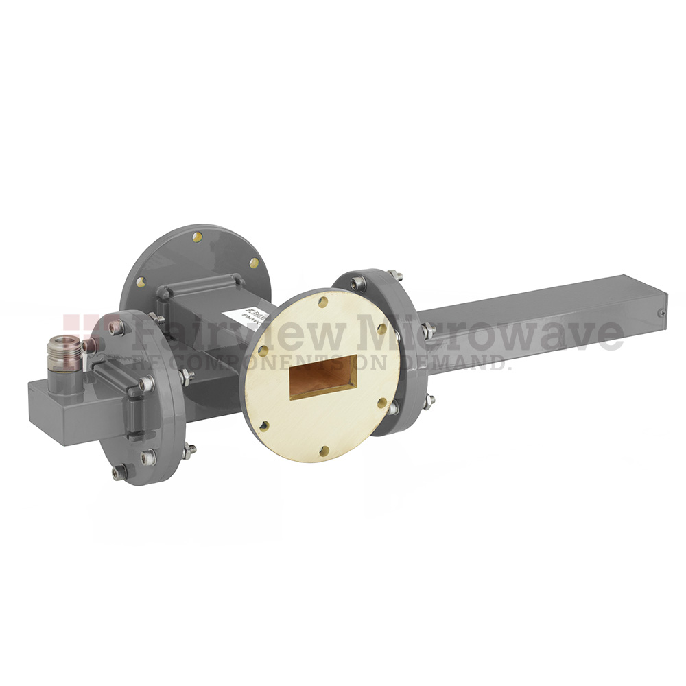 30 dB WR-137 Waveguide Crossguide Coupler with UG-344/U Round Cover Flange and N Female Coupled Port from 5.85 GHz to 8.2 GHz in Bronze