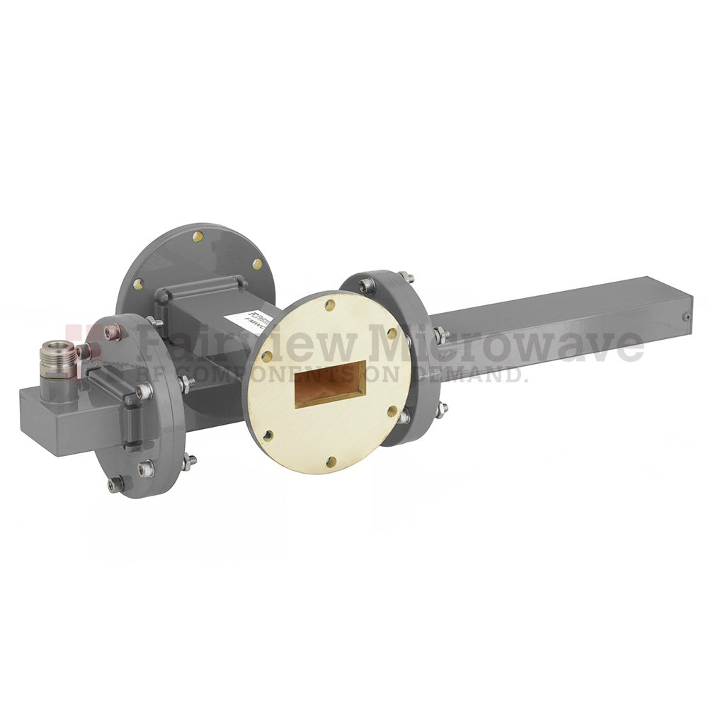 50 dB WR-137 Waveguide Crossguide Coupler with UG-344/U Round Cover Flange and N Female Coupled Port from 5.85 GHz to 8.2 GHz in Bronze
