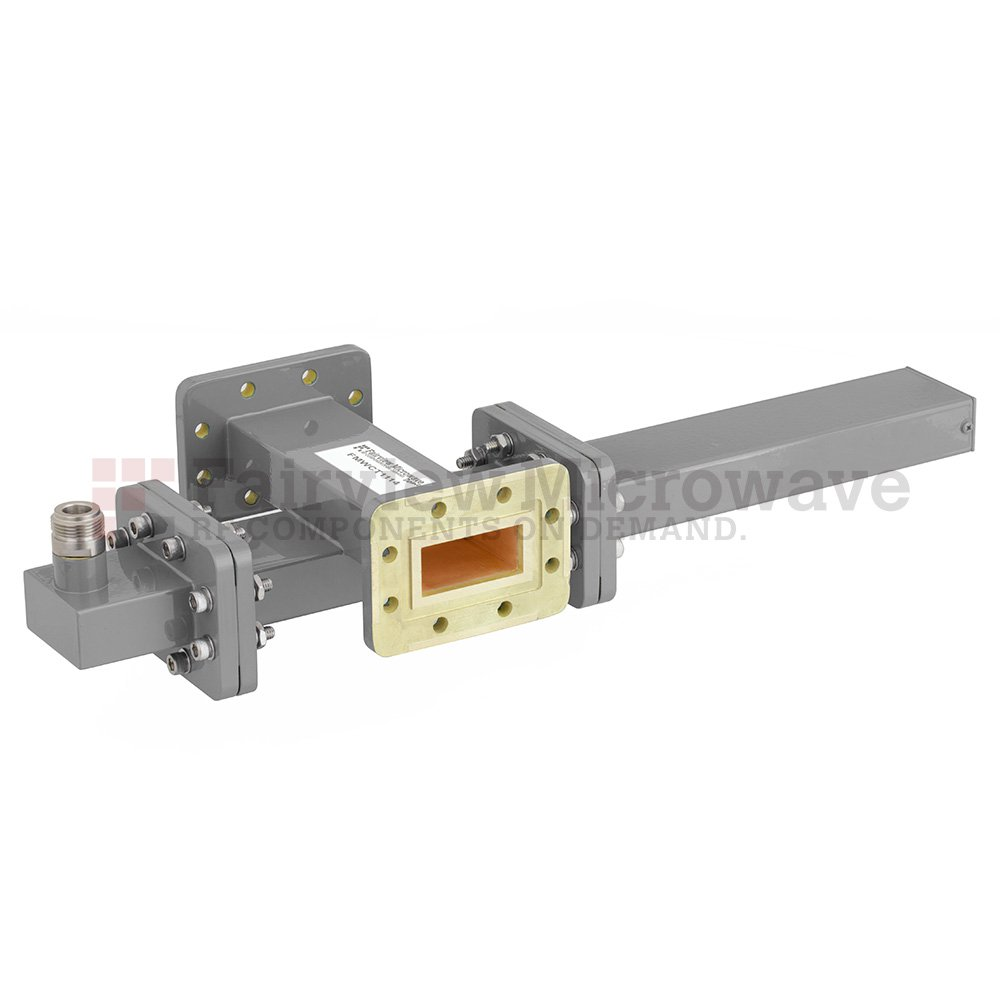 40 dB WR-137 Waveguide Crossguide Coupler with CPR-137G Flange and N Female Coupled Port from 5.85 GHz to 8.2 GHz in Bronze