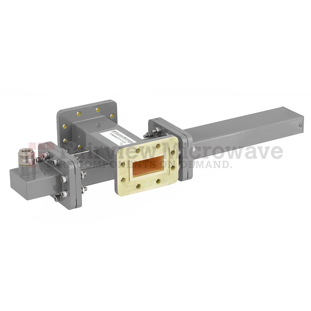 50 dB WR-137 Waveguide Crossguide Coupler with CPR-137G Flange and N Female Coupled Port from 5.85 GHz to 8.2 GHz in Bronze