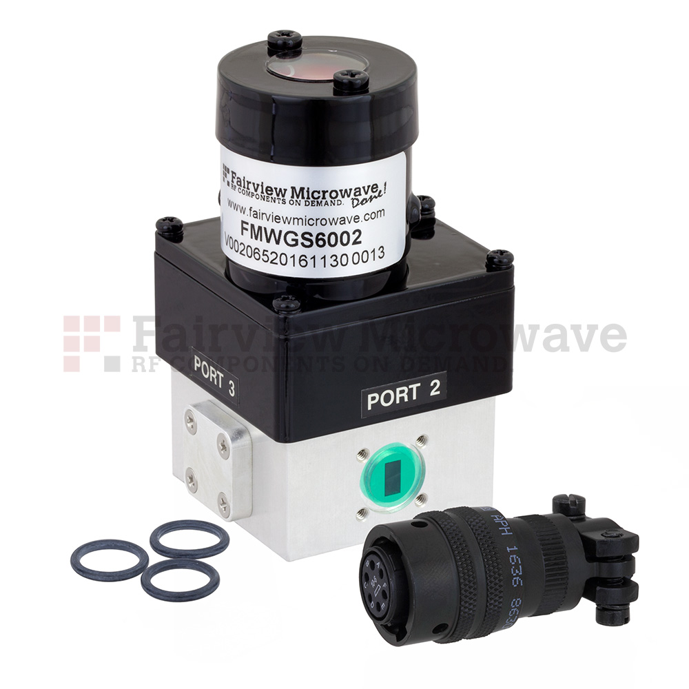 WR-28 Waveguide Electromechanical Relay Latching Switch SPDT 40 GHz Max Frequency, 550 Watts Ka Band UG-599/U Square Cover Flange