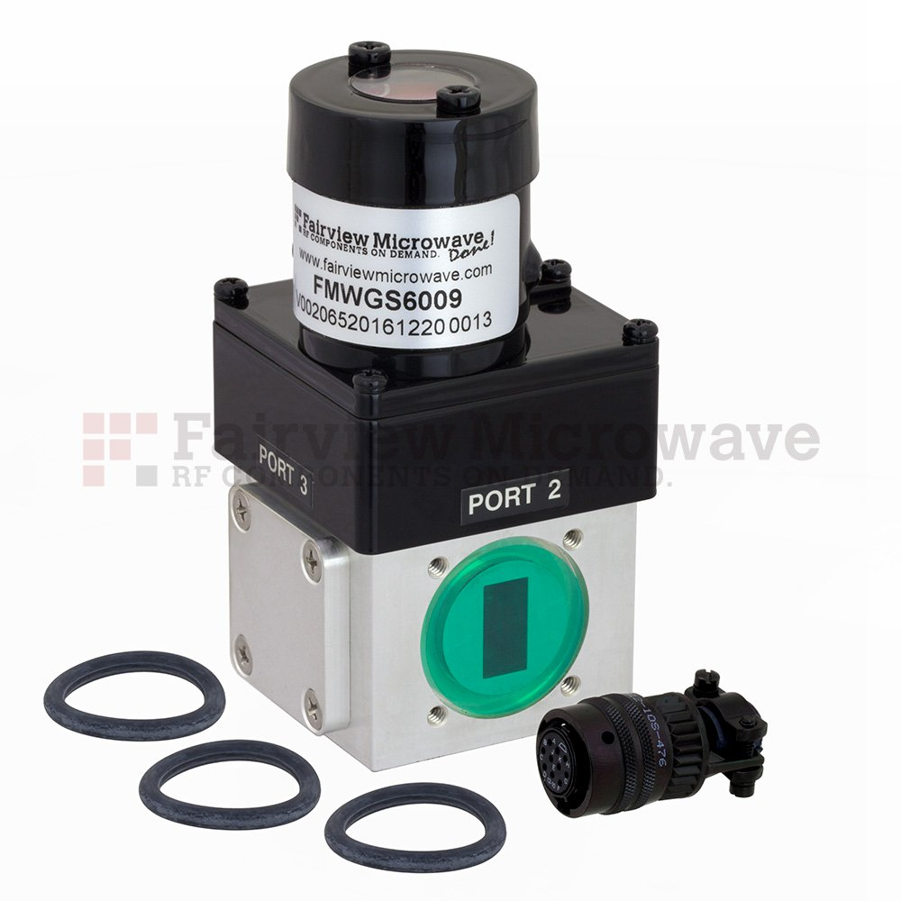 WR-62 Waveguide Electromechanical Relay Latching Switch SPDT 18 GHz Max Frequency, 2,000 Watts Ku Band UG-419/U Square Cover Flange