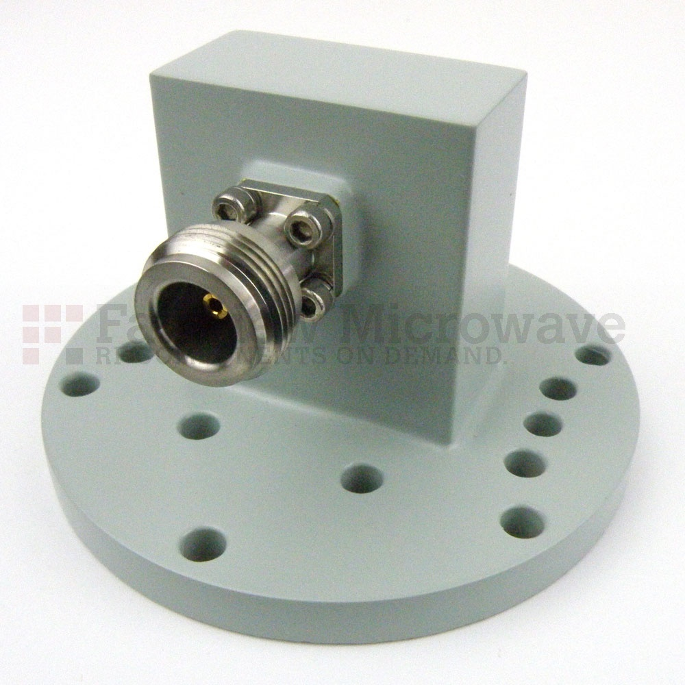 WR-137 to N Female Waveguide to Coax Adapter Round Cover Flange With 5.85 GHz to 8.2 GHz Frequency Range