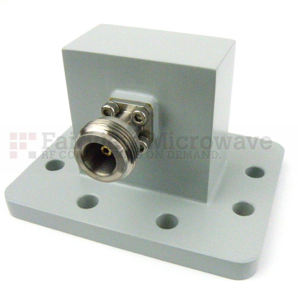 WR-159 to N Female Waveguide to Coax Adapter UDR58 Flange With 4.9 GHz to 7.05 GHz Frequency Range