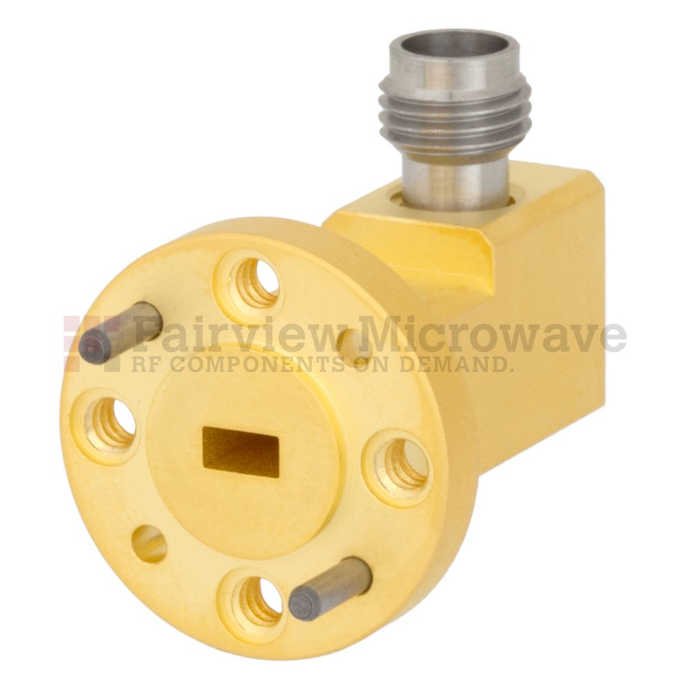 WR-15 to 1.85mm Female Waveguide to Coax Adapter UG-385/U Round Cover Flange With 50 GHz to 65 GHz Frequency Range For V Band
