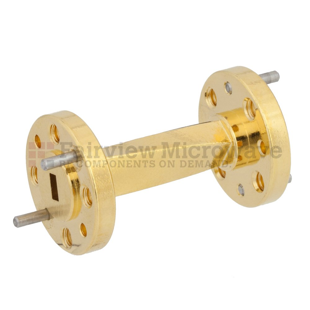 WR-15 45 Degree Waveguide Right-hand Twist Using a UG-385/U Flange And a 50 GHz to 75 GHz Frequency Range