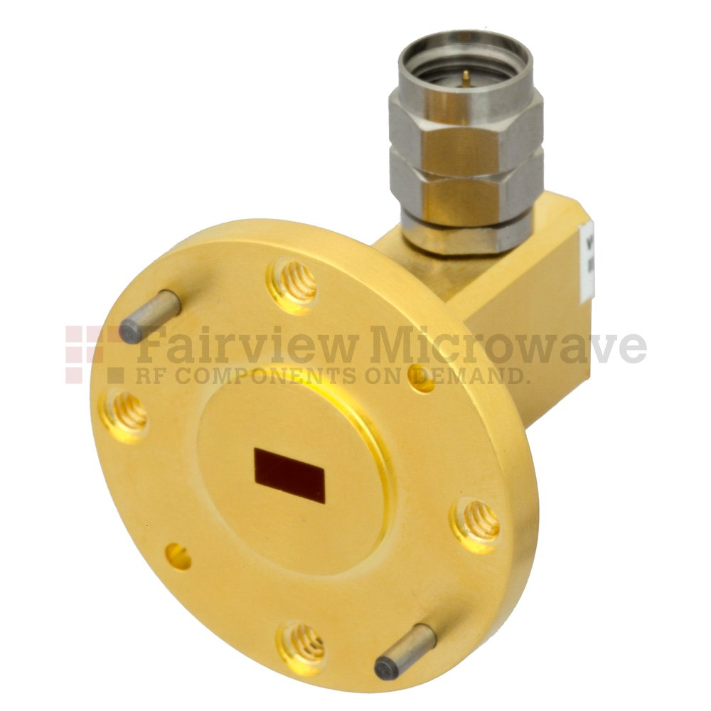 WR-19 to 1.85mm Male Waveguide to Coax Adapter UG-383/U-Mod Round Cover Flange With 40 GHz to 60 GHz Frequency Range For U Band