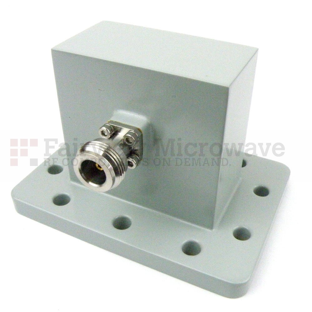 WR-229 to N Female Waveguide to Coax Adapter UDR40 Flange With 3.3 GHz to 4.9 GHz Frequency Range