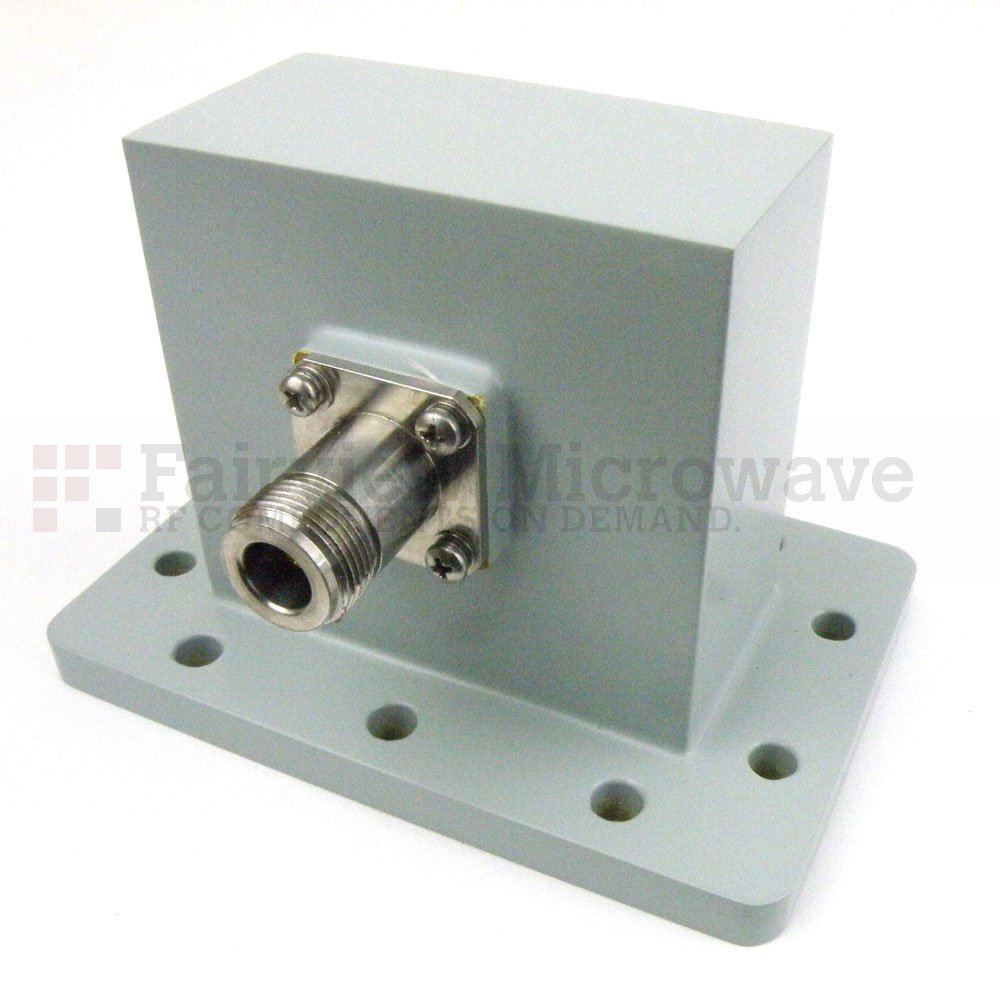 WR-284 to N Female Waveguide to Coax Adapter UDR32 Flange With 2.6 GHz to 3.95 GHz Frequency Range For S Band
